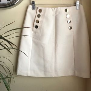 H&M Sailor Style Skirt, Size 6, Off White/Gold